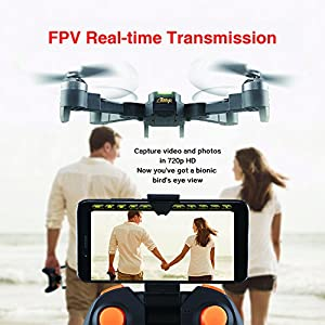 WINGLESCOUT XT-1 Foldable RC Quadcopter FPV Drone with 720P WiFi Camera Live Video Altitude Hold Gravity Sensor and AR Game Mode from Cellstar Co.,Ltd