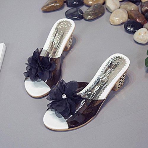 Schwarz Geöffnete Schuhe Blumen Hausschuhe Schuhe Böhmen Frauen Pantoffel OYSOHE arbeiten Damen um Zehe Absatz SAY4qPwOx