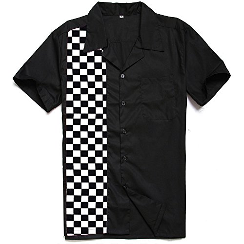 Anchor MSJ Mens 50s Male Clothing Rockabilly Style Casual Cotton Blouse Mens Fifties Bowling Dress Shirts