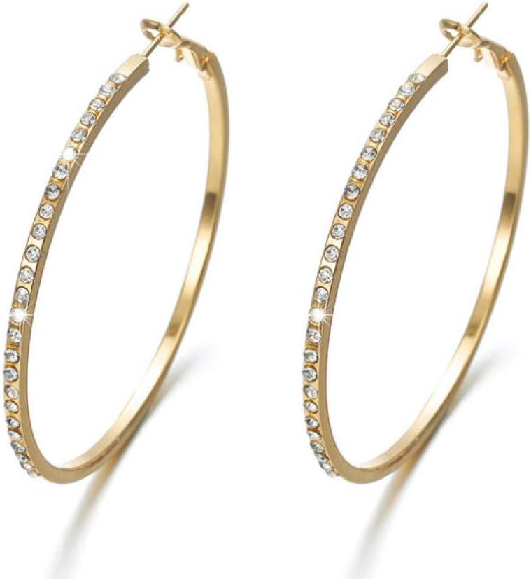 NOBRAND Aretes con Diamantes de imitación Pendientes Circulares Pendientes Simples Círculo Grande Pendientes de Bucle de Color Dorado para Mujer