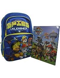 """Nickelodeon Paw Patrol Kid's 16"""" Deluxe School Backpack Travel Bag w/ Bonus Pocket Folder"""
