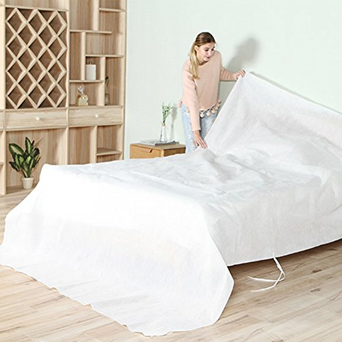 Non-woven Dustproof Covers For Bed Sofa Couch Furniture Protector Cover Shelter Breathable Non-woven Material Mouldproof and Long Term Storage Adjustable with Rope HZC03 30.5