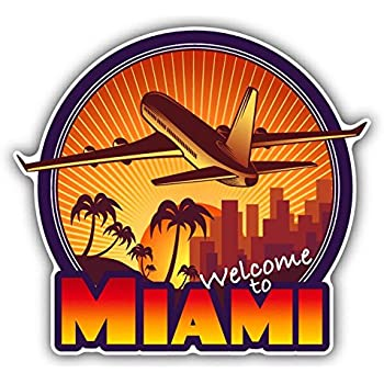 3/'/' Miami USA Grunge Welcome Label Car Bumper Sticker Decal 5/'/' or 6/'/'