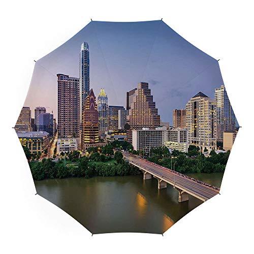 Compact Folding Travel Umbrella Windproof Waterproof,Modern,10 Ribs Finest Windproof Umbrella with Teflon Coating, Auto Open Close and Upgraded Comfort Handle 45 Inch,Austin Texas American City ()