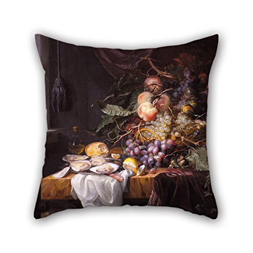 The Oil Painting Walscapelle, Jacob Van - Still Life with Fruit and Oysters Pillow Covers of 16 X 16 inches / 40 by 40 cm Decoration Gift for Birthday Festival Dinning Room Him Divan Boys (Both Si]()