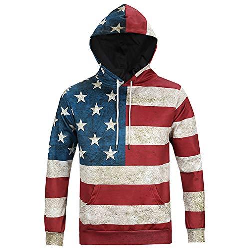 (Unisex Novelty Hoodies Fashion 3D Digital Printed Pullover United States of America National Flag Hooded Sweatshirt Pockets)