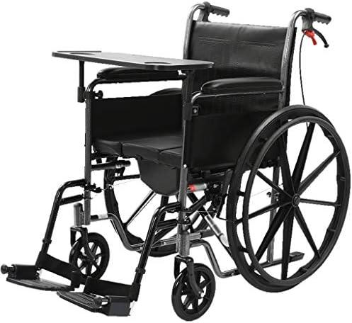 wheelchair Rollstühle mit Eigenantrieb, 45 cm Sitztiefe, zusammenklappbares Mobilitätsgerät Mit Toilette und Esstisch, tragbarer Rollstuhl für ältere, behinderte und behinderte Benutzer