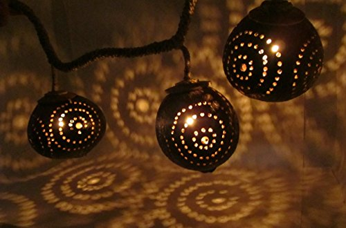 Hanging Strand Light Porch Tiki Lighting String Natural Wood Coconut Shell Lamp Thailand (3-Globe (24