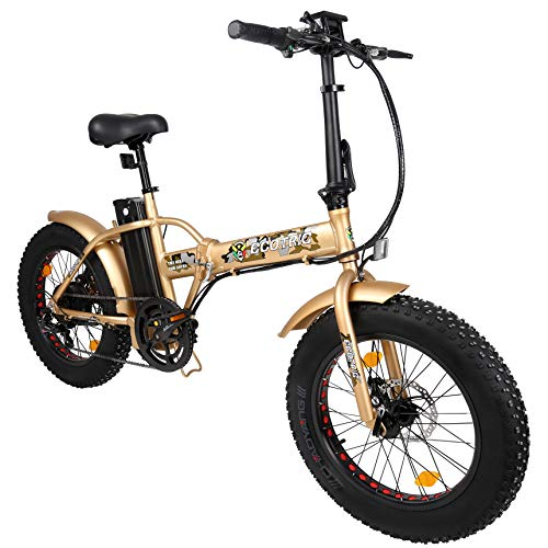 """ECOTRIC Fat Tire Electric Foldable Bike Beach Snow Bicycle 20"""" 4.0 inch Fat Tire Aluminum Frame Ebike 500W 48V/13AH Electric Mountain Bicycle"""