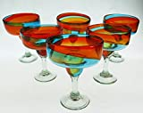 Mexican Margarita Glasses, Hand Blown, Rainbow colors 18 Oz (Set of 6)