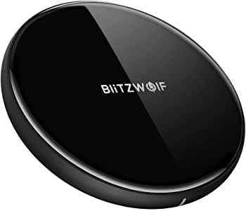 Wireless Charger, BlitzWolf 5W Wireless Charging Pad for iPhone X/ 8/ 8Plus, Samsung S8/ S8 Plus/Note 8/7/ S7/ S7 Edge/ S6, LG G3, Nexus 4/5/6/7 and All Qi-Enable Devices (5W, Black)