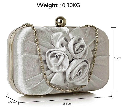 Flower Front Bag UK Pleated Satin DELIVERY Clutch Stunning Silver FREE Bwxqa6Ft