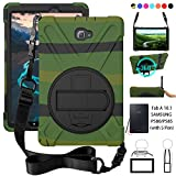 P580 Case, Galaxy Tab A 10.1 (with S Pen) Case, Shockproof High Impact Resistant Heavy Duty Armor Cover with Hands Strap Shoulder Belt for Samsung Galaxy Tab A 10.1 P580 P585 (S Pen Version),Green