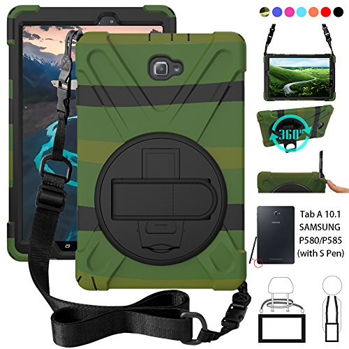 ZenRich P580 Case, Galaxy Tab A 10.1 (with S Pen) Case, Shockproof High Impact Resistant Heavy Duty Case with Hands Strap Shoulder Belt for Samsung Galaxy Tab A 10.1 P580 P585 (S Pen Version),Green