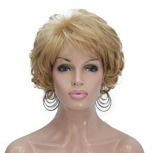 Aimole Short Curly Synthetic Wigs Full Capless Hair Womens Thick Wig for Everyday(24B-Light Butterscotch)