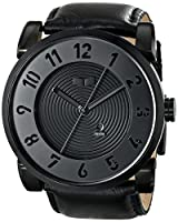 Vestal Men's DOP003 Doppler Oversized Matte Black Ion-Plated Case Black Leather Watch from Vestal