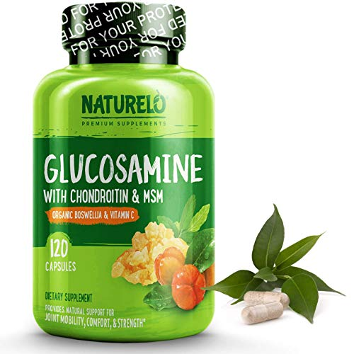 NATURELO Glucosamine Chondroitin MSM with Boswellia & Organic Vitamin C – Best Supplement for Joint Comfort, Mobility & Strength – 120 Capsules