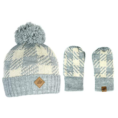 Plaid Stretch Knit Cuff Fleece Lined Beanie Winter Pom Hat and Mitten Glove Gift Set (Grey and White Buffalo Check Plaid)