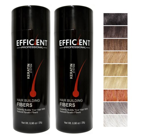 2 of EFFICIENT Keratin Hair Building Fibers, Hair Loss Concealer Net Wt. 28gm/0.98 oz (Dark Brown) by EFFICIENT