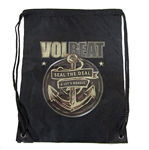 Volbeat Anchor Black Nylon Cinch Sack Drawstring Tote Bag