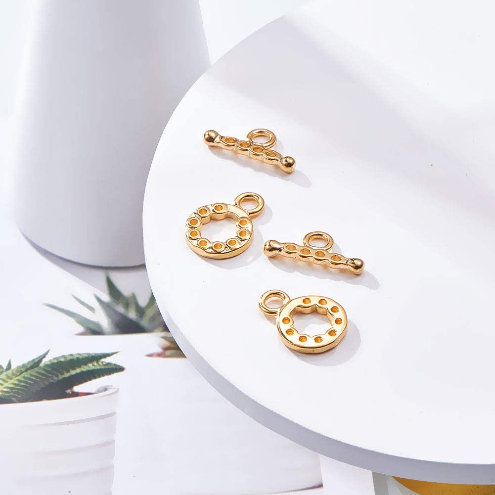 Round with Hole 14.5x10.5mm BENECREAT 10 Sets 18K Gold Plated Toggle Clasp Connectors for Necklace Bracelet Jewelry Making