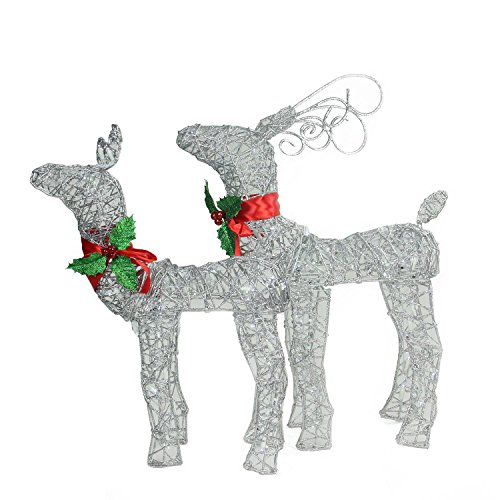 Set of 2 LED Lighted Glitter Buck and Doe Reindeer Christmas Yard Art Decorations (Glitter Reindeer Decorations)
