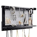 SWEETV Wall Mounted Jewelry Organizer with Removable Rod - Espresso Hanging Necklaces Holder Wooden Jewelry Display for Earrings Bracelets Accessories