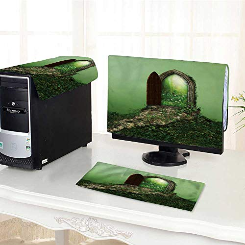 UHOO2018 Flat Screen Protector 3 Pieces Fantasy Doorway Portal Framed by Green Vines Lead into a Idyllic Garden Anti-Static Vinyl /29