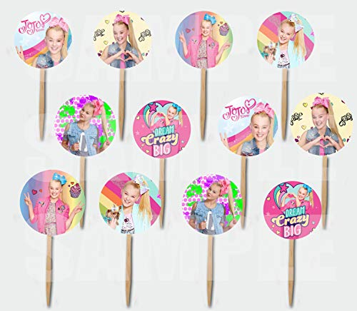 JoJo Siwa Cupcake Picks Cake Toppers (12 pcs) - Dance Mom's YouTube TV Channel Boomerang Kid in a Candy Store