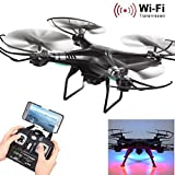 X5SW-1 6-Axis Gyro 2.4G 4CH Real-time Images Return RC FPV Quadcopter Drone Wifi with HD Camera One-press Return by Iusun (Black)
