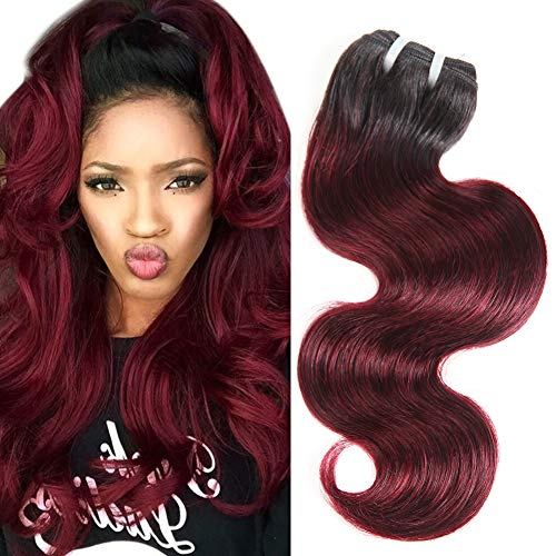 (Bk Beckoning Brazilian Virgin Body Wave Single Bundle 14 Inch Two Tone 1b99j Hair Extensions Ombre Burgundy Color Unprocessed Brazilian Human Hair Weave 50G )