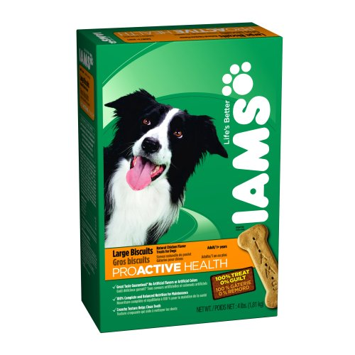 Biscuits 4lb Box (IAMS PROACTIVE HEALTH Adult Dog Large Biscuits Natural Chicken Flavor 4 Pounds (Pack of)