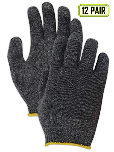 Magid Glove & Safety G14181KW-AMZN Greyt Shadow G14181KW Lightweight 10 Gauge Knit Gloves, Cotton Poly Blend, Large, Gray (Pack of - Gray Poly Cotton