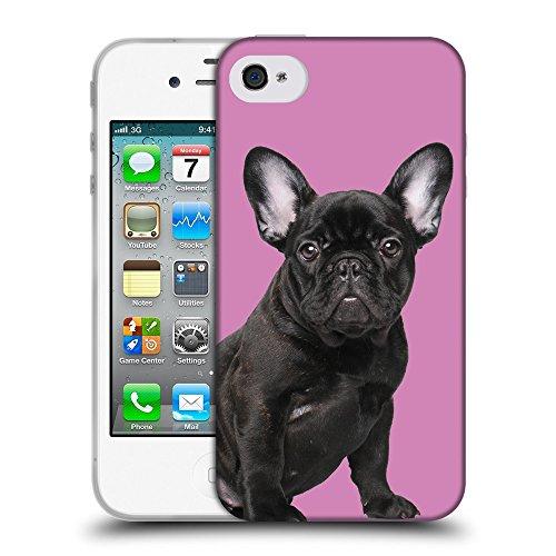 GoGoMobile Coque de Protection TPU Silicone Case pour // Q05630618 Bouledogue noir Bronzo // Apple iPhone 4 4S 4G