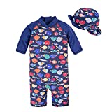 BIG ELEPHANT Kids Boys'2 Pieces Stripe Animals Beach Swimsuit Swimwear with Hat Fish Q68-3T 18-24 Months