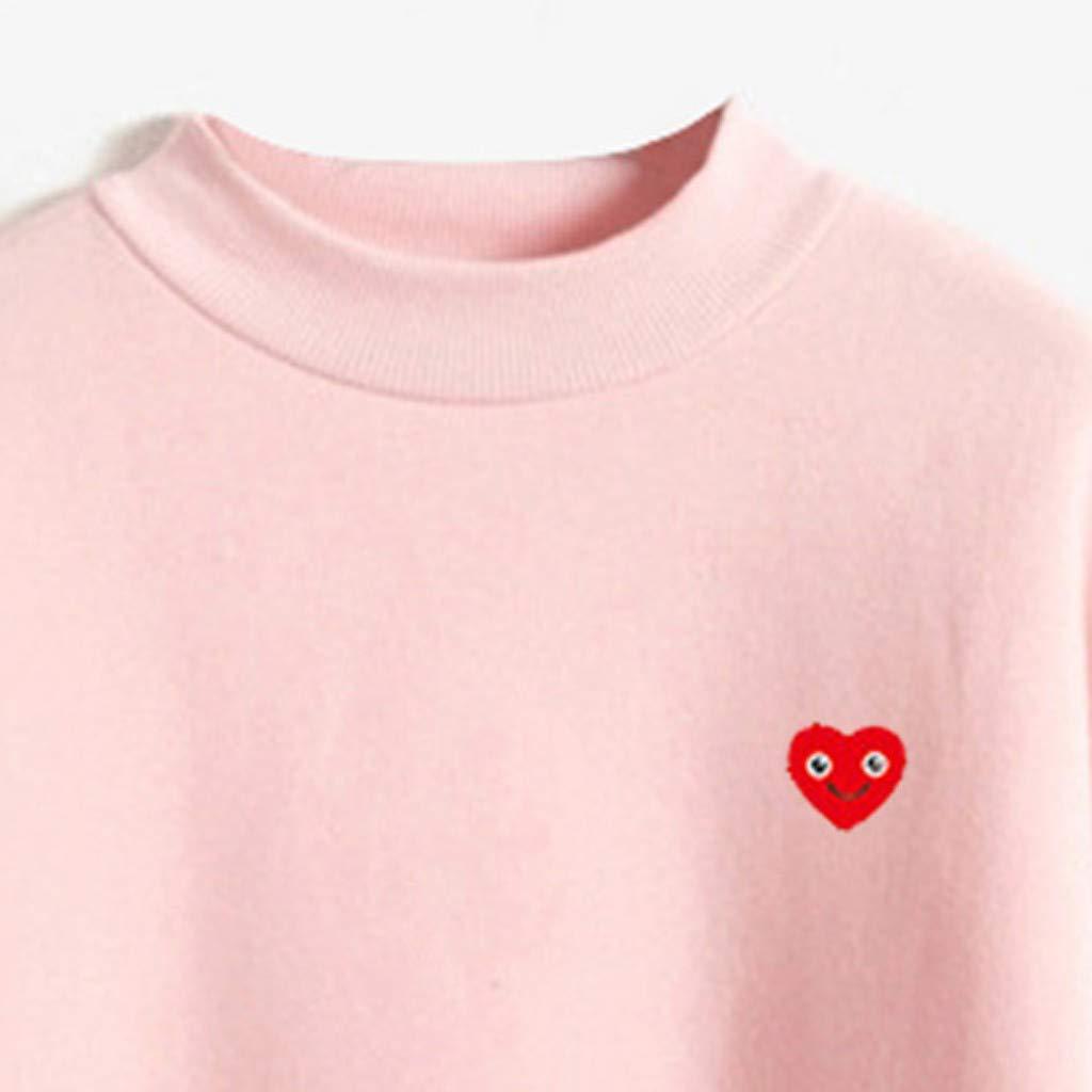 BBesty Big Sale Women O-Neck Solid Color Smiley Love Pattern Long Sleeve Plus Velvet Sweatshirt,Spaghetti,Tunic,Blouses,Cute