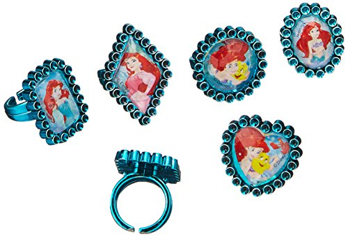 Amscan Enchanting Disney Ariel Dream Big Birthday Jewel Rings Party Favor, Green, -