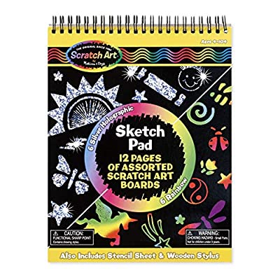 Melissa & Doug Scratch Art Sketch Pad With 12 Scratch-Art Boards and Wooden Stylus: Melissa & Doug: Toys & Games