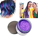 #10: MOFAJANG Purple Hair Color Wax, Natural Hairstyle Wax 4.23 oz, Temporary Hairstyle Cream for Party, Cosplay, Halloween, Daily use, Date, Clubbing (Purple)