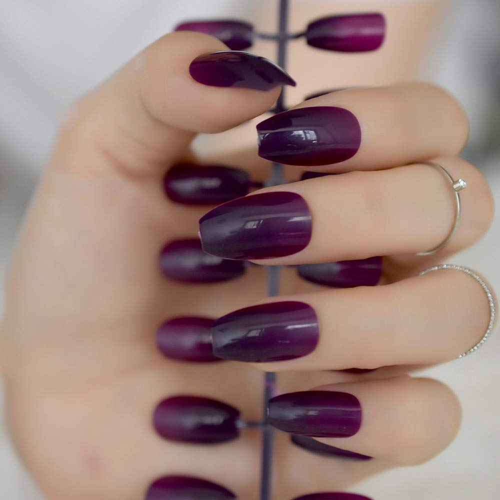 QULIN Uñas postizas Brillante Uva de caramelo Púrpura Acrílico ...