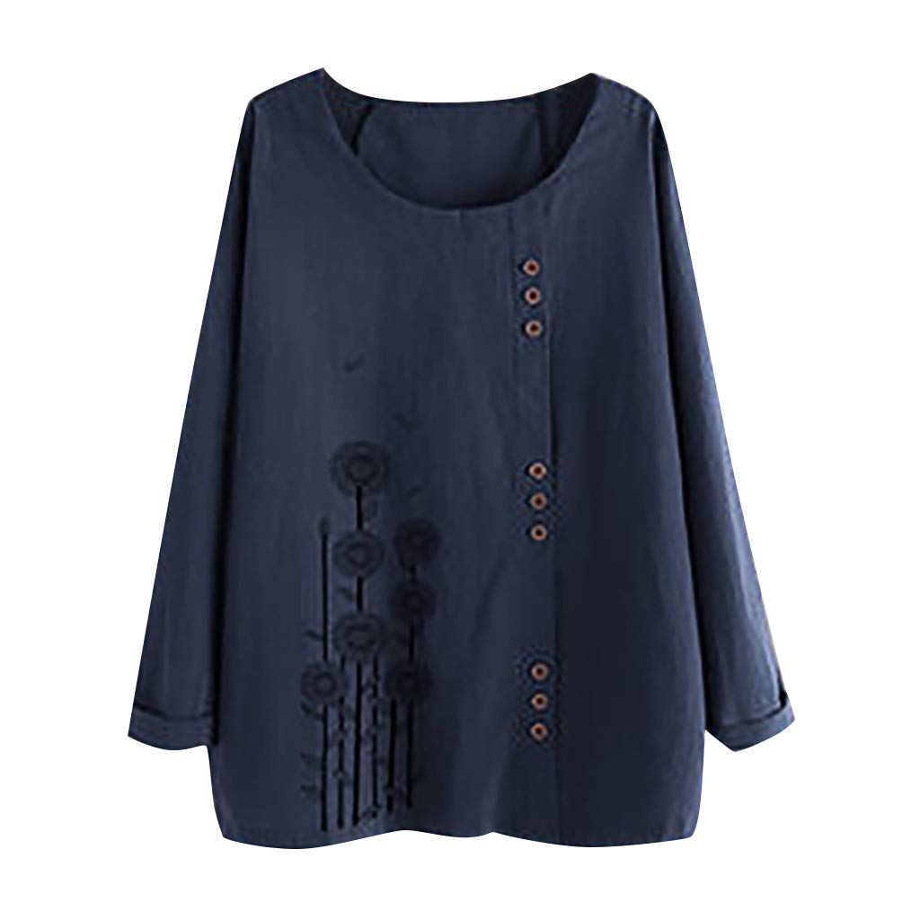 Plus Size Women Long Sleeve Cotton Linen O-Neck Botton Blouse Top T-Shirt AMhomely Women Blouse Sale Shirts