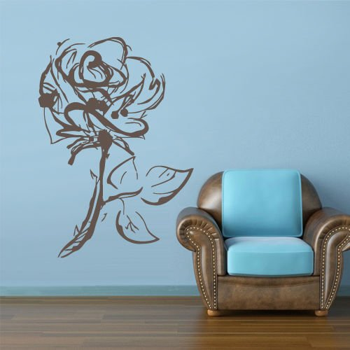 Hearts Sketch (Wall Decal Sticker Flowers Rose Roses Bucket Love Heart Sketch Gift Wall Mural, Removable Sticker, Home Decor)