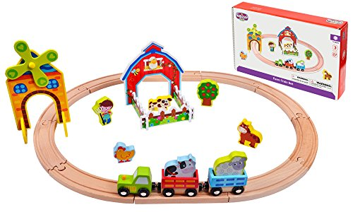 - Kidzzy Toys 27 Pieces Wooden Train Set, Toy Set with Farm Yard, Double Sided Tracks Great for Kids Age 2 - 3 -4 and up, Compatible with All Major Brands of Magnetic Trains