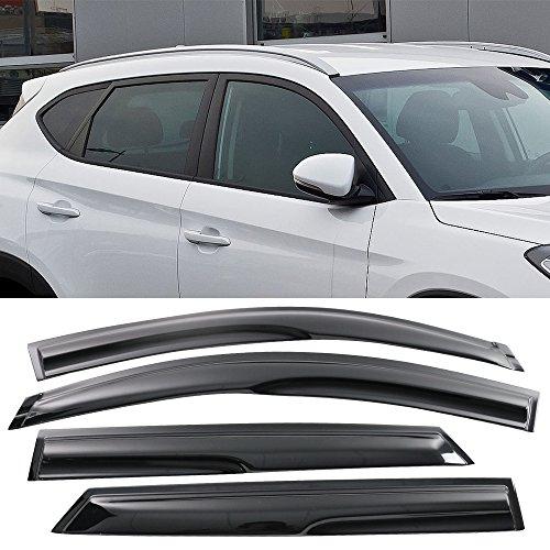 - Window Visor fits 2016-2017 Hyundai Tucson | Mu Style Acrylic Smoke Tinted & Semi-transparent Sun Rain Shade Guard Wind Vent Air Deflector by IKON MOTORSPORTS |
