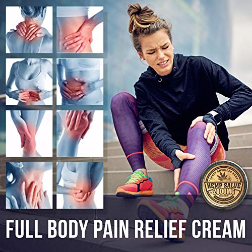 51XqP3JifAL - Hemp Oil Salve for Pain Relief - 2000 Mg - Fast Acting & Natural - Knee, Muscle, Joint, Neck & Back Pain Relief - Premium Hemp Oil Made in USA - Anti Inflаmmаtory Hemp Balm - MAX Efficacy - No GMO