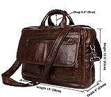 YAAGLE Mens Genuine Real Buffalo Leather Briefcase Business File Organizer Portable Cross-body Shoulder Bag Top-handle Handbag Backpack