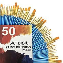 Acrylic Paint Brush Set, 5 Packs / 50 pc...