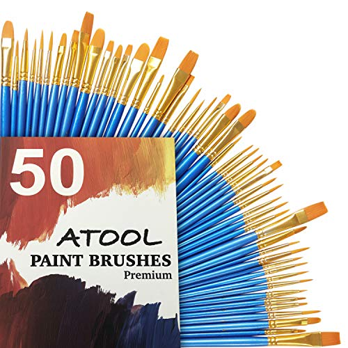 Acrylic Paint Brush Set, 5 Packs / 50 pcs Nylon Hair Brushes for All Purpose Oil Watercolor Painting Artist Professional Kits -