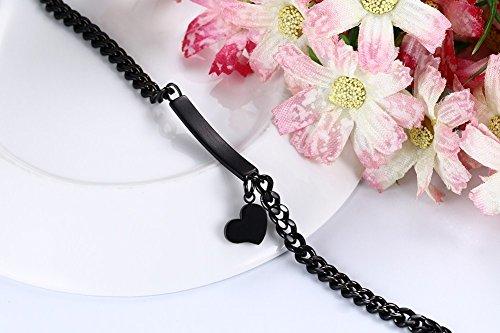 Vnox Free Gravure Personnalisé en acier inoxydable Blank Tag Identification Bracelet avec un charme de coeur,noir