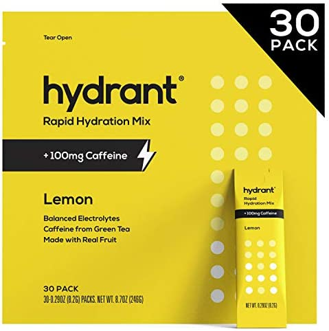 Hydrant Caffeine Electrolyte Powder, Electrolyte Water, Hydrate Powder Packets, Dehydration Recovery Drink Blend, Vegan, 30 Day Supply, Lemon